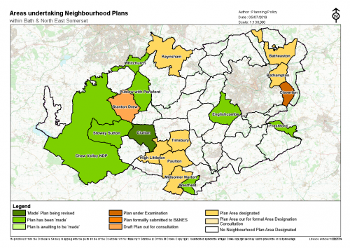 The current status of Neighbourhood Plans being undertaken in Bath and North East Somerset