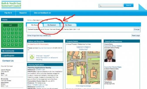 Bathnes 'Services in Your Area' - 'My Nearest' tab