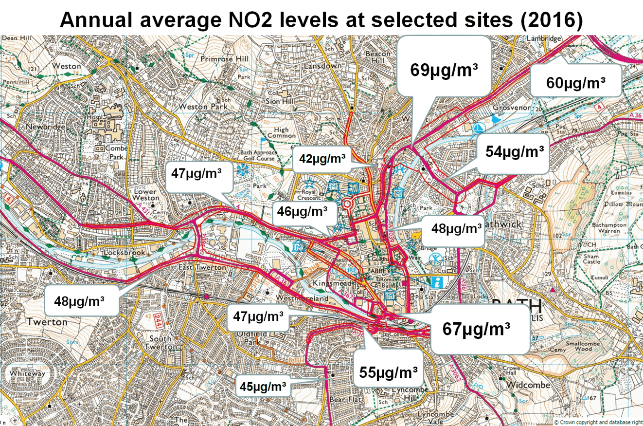 map showing annual average no2 levels at selected sites in 2016