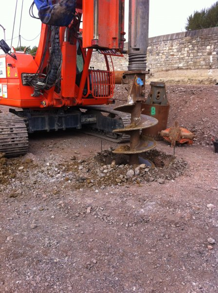 Drilling the piling holes