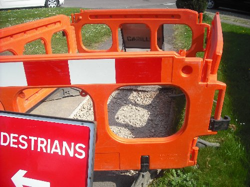 Barriers around works in the public footway