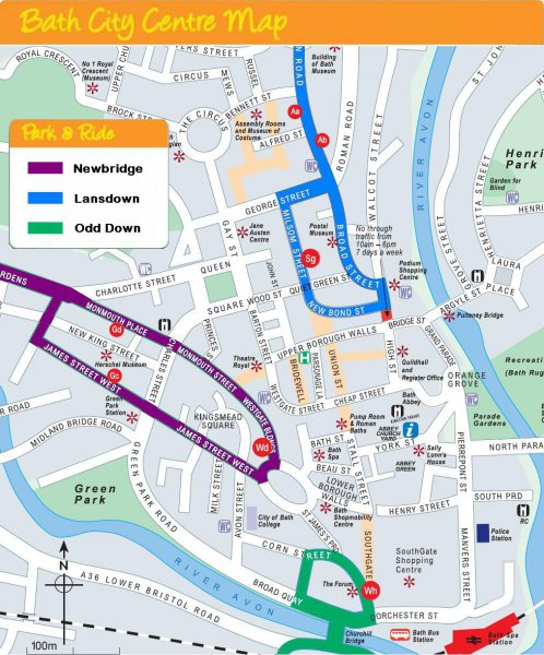 Map Of Bath City Centre Park and Ride City Centre Bus Stop Map | Bathnes Map Of Bath City Centre