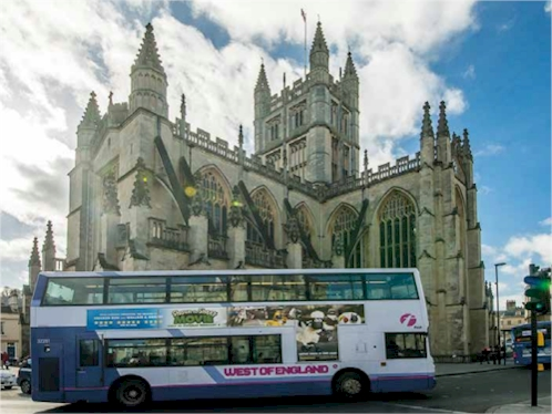 Bus in front of Bath Abbey