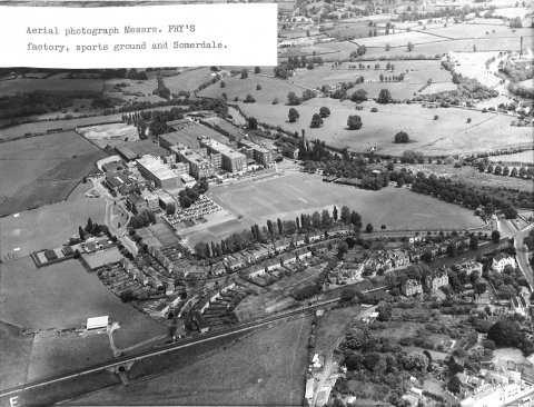 Aerial view Fry's factory, sports ground and Somerdale
