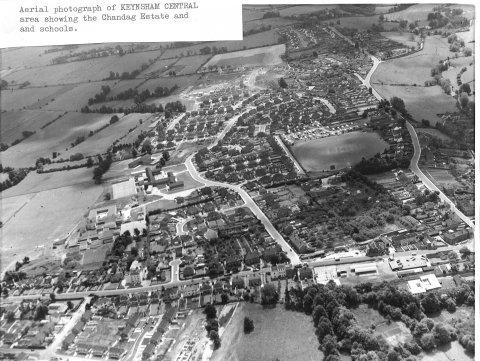 Aerial view, Keynsham central, chandag estate and schools