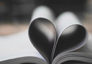 Book pages in shape of a heart