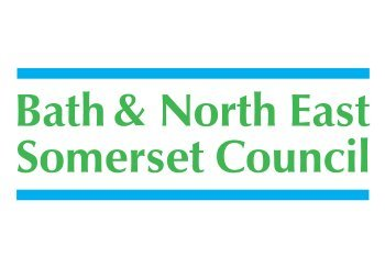Image of Bath and North East Somerset Council logo in green text with blue horizontal lines