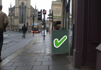 Image of a correctly positioned A-board