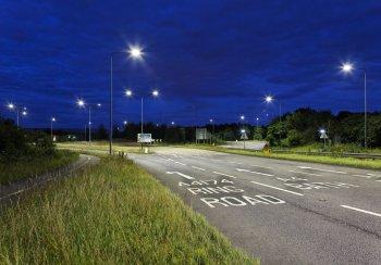 street lighting on road at night