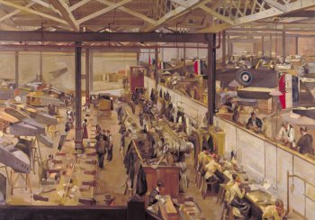 Image of a painting of an aircraft assembly shop in World War One