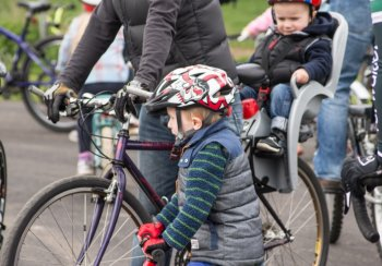 Family at cycle event