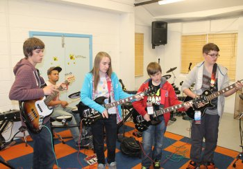 Young People in a rock band