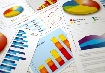 Picture showing bar charts and pie charts