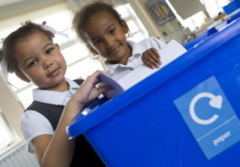 Photo of paper recycling in school