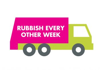 rubbish collection van showing every other week message