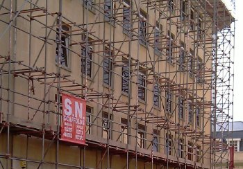 Scaffolding covering a building in Bath