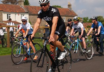 Sir Chris Hoy rides the Odd Down Cycle Circuit