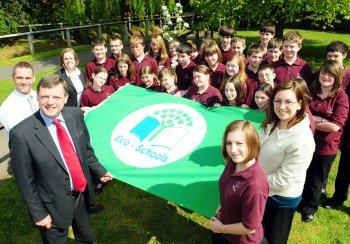Somervale Eco Schools Green Flag award. Copyright Bath & News Media