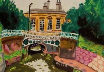 Image is a painting by the artist Bernard Ollis from his Sydney Gardens series, Kennet & Avon Canal, by kind permission of the artist