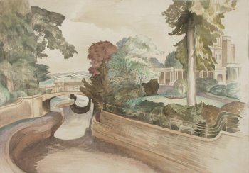 Painting of the view along the Kennet and Avon Canal through the white iron bridge with overhanging trees