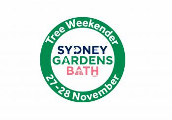 Tree weekender written around a green circle around the words Sydney Gardens Bath