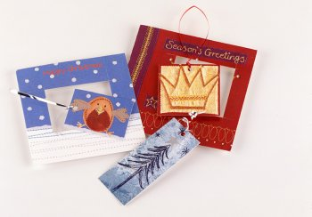 Image of gift tags made from old Christmas cards