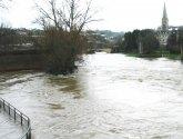 Bath, River Avon flooding Parade Gardens