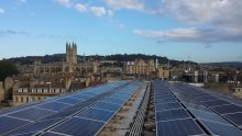 Solar Panels owned and installed by Bath & West Community Energy on Bath & North East Somerset Council's One Stop Shop Building in central Bath
