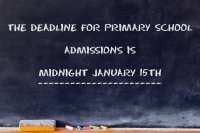 chalkboard with reminder message about primary school admissions