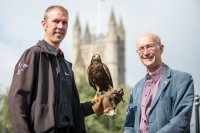 Harvey Pinniger, NBC Environment with Murray the Harris Hawk and Councillor Paul Crossley