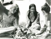 Long-sleeved long dresses in Laura Ashley prints, 1970s